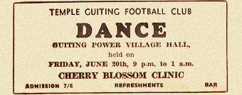 1960s newspaper ad for village hall dance