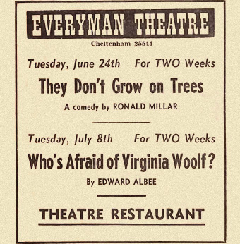 1960s newspaper ad for everyman theatre