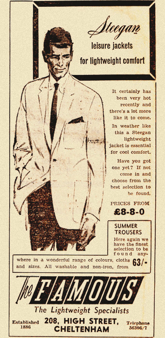 1960s newspaper ad for steegan leisure jackets