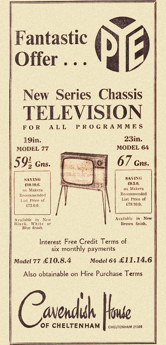 1960s newspaper ad for pye tvs