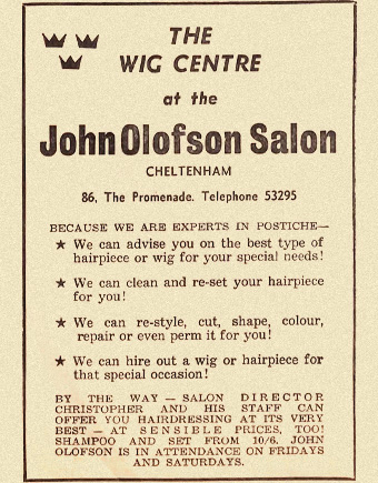 1960s newspaper ad for John Olofson wig centre