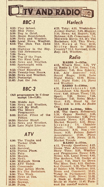 1960s newspaper tv and radio listings