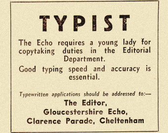 1960s newspaper ad for typist job