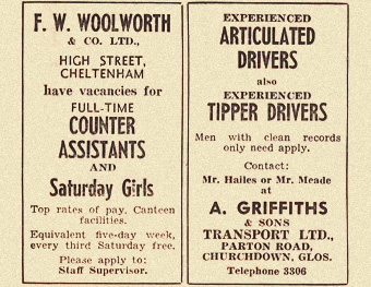 1960s newspaper ad for woolworths and job ad for drivers