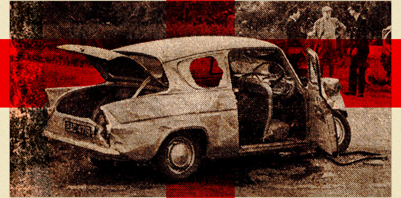 1960s newspaper photograph of crashed car